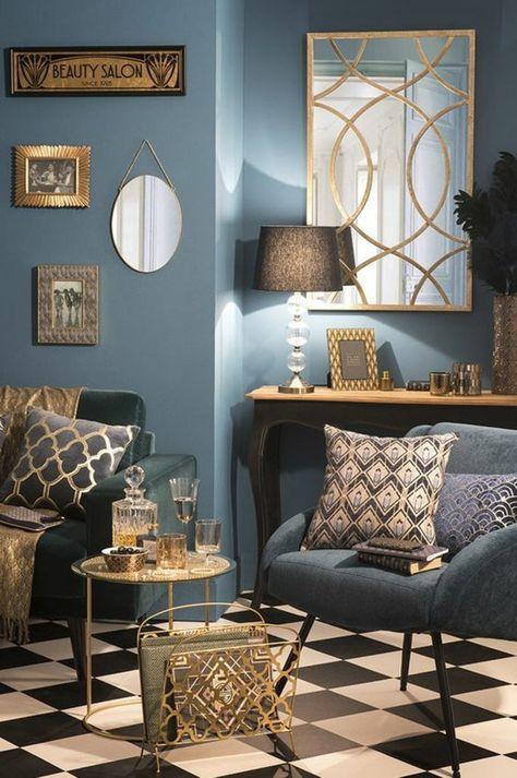 art-nouveau-art-déco-carrelage-damier-peinture-murale-bleue-plusieurs-prints-graphiques