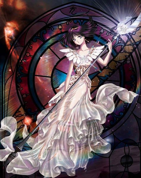Sailor Saturn in a white Dress