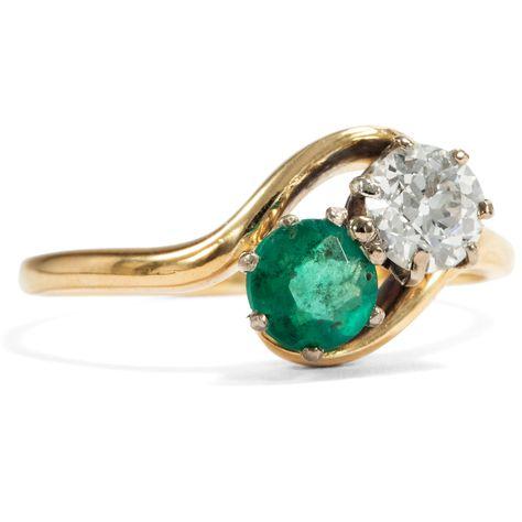 Hoffnungsvolle Liebe •     Antiker Smaragd- & Diamantring aus Gold, um 1900 • Hofer Antikschmuck