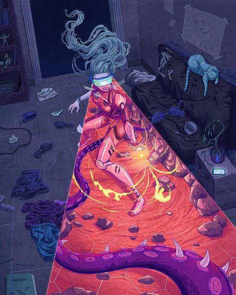 Reality Virtuoso by Kim Herbst : Cyberpunk Cyberpunk Kunst, Sci Fi Kunst, Art And Illustration, Design Illustrations, Fantasy Kunst, Fantasy Art, Arte Dope, Arte Robot, Psychedelic Art