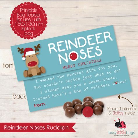 Reindeer Noses Bag Toppers, a great little gift for kids and teachers this Christmas! by Busy Little Bugs