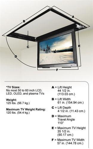 Motorized Drop Down Ceiling Tv Bracket For 50 60 In 2020 Tv