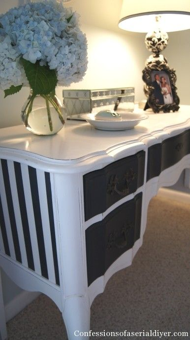 sewing machine cabinet-stripes on side, paper lined drawer, two colors on top and front