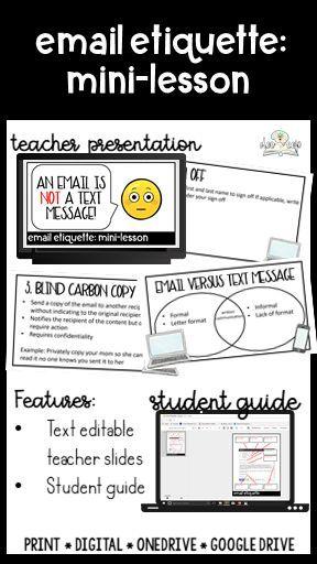 Email Etiquette Mini-Lesson | Creative Writing/Middle School