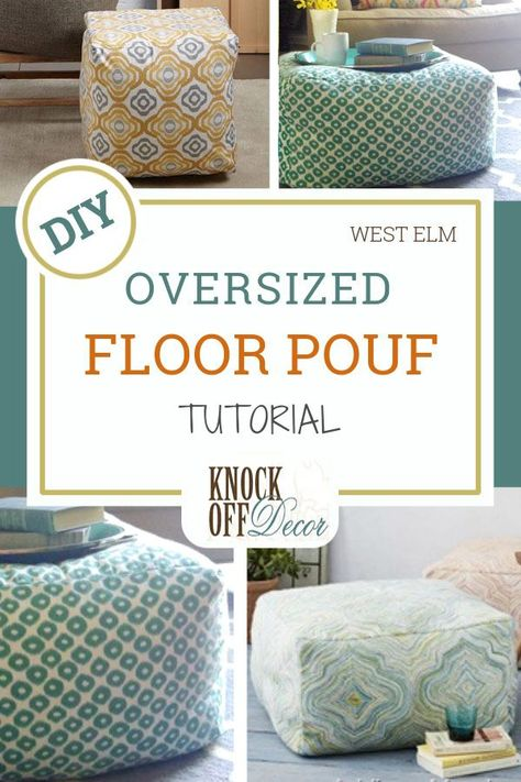 Oversized Floor Pouf Tutorial, Diy And Crafts, One of the best floor chair ideas to come around - the floor pouf! This soft ottoman seat can accommodate a bottom comfortably while also doubling as . Floor Pouf, Floor Chair, Floor Cushions, Chair Cushions, Giant Floor Pillows, Knock Off Decor, Diy Ottoman, Ottoman Ideas, Sewing Tutorials