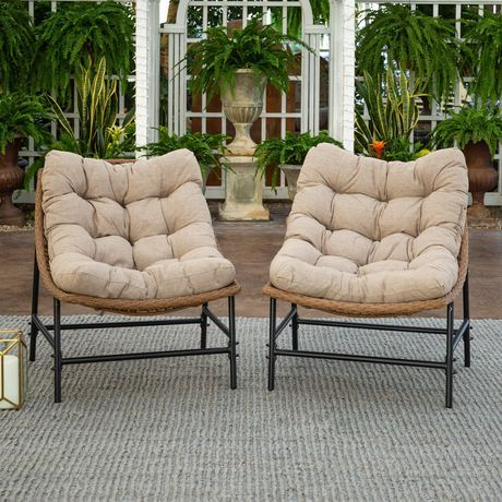 Manor Park Papasan Scoop Outdoor Patio Chairs Set Of 2 Natural