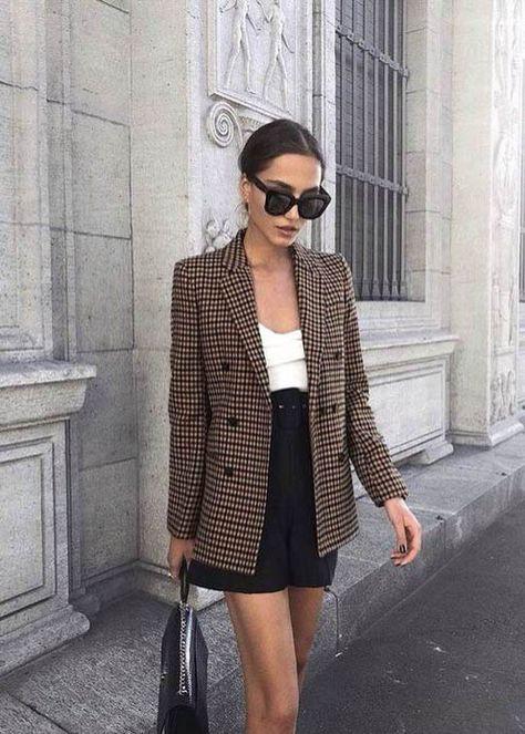Check Plaid Blazer / Street style fashion / fashion week - Outfits for Work