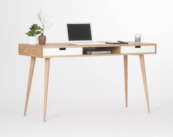 Mid Century Computer Desk With Drawers And Storage Made Of Etsy In 2020 Oak Desk Modern White Wooden Desk Desk With Drawers