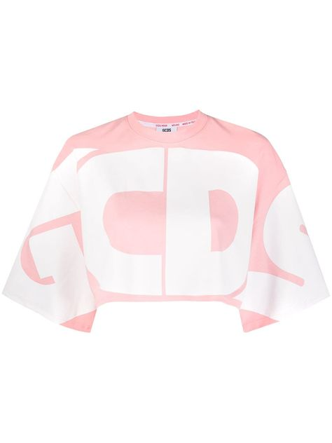 Gcds oversized logo cropped top - PINK