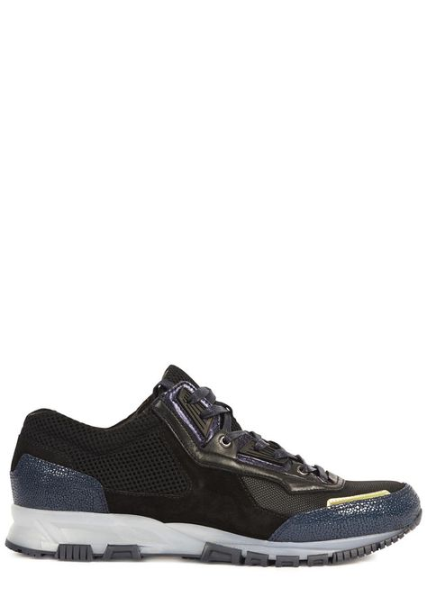061ad762455d Lanvin black leather trainers Textured navy trims