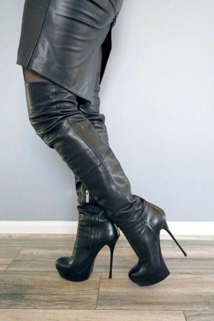 Pin by G B on heels in 2020 | Boots, Leather thigh boots
