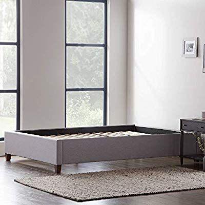 Amazon Com Lucid Upholstered Platform Bed With Slats Wood Construction Linen Insp In 2020 Upholstered Platform Bed Wood Platform Bed Frame Solid Wood Platform Bed