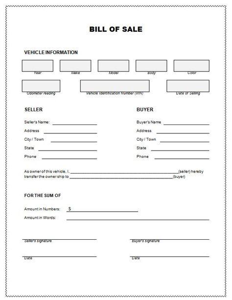 Bill of Sale, Firearm Vehicle Bill of Sale form, dmv auto Bill of - bill of sale template doc