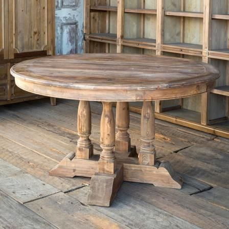 Wren Reclaimed Elm Farm Table Dining Table Round Farmhouse