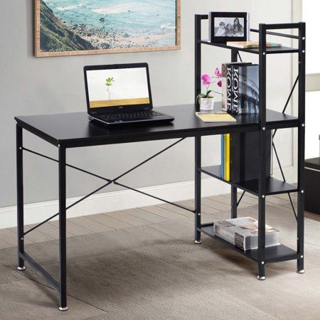 Costway Modern Computer Desk With 4 Tier Shelves Pc Workstation Study Table Home Office Walmart Com Small Computer Desk Modern Computer Desk Home Office Furniture