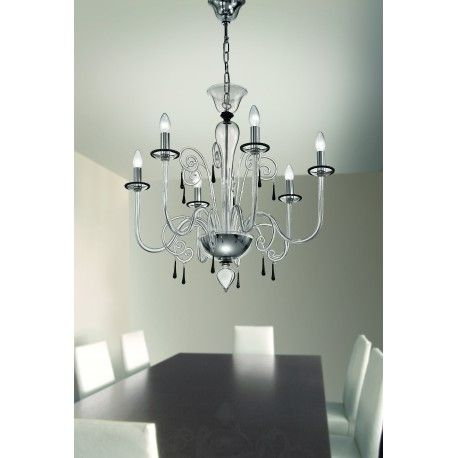 Matte Black Murano Glass Chandelier | Venetian Glass | Italian Lighting | Modern Chandelier | Murano Glass