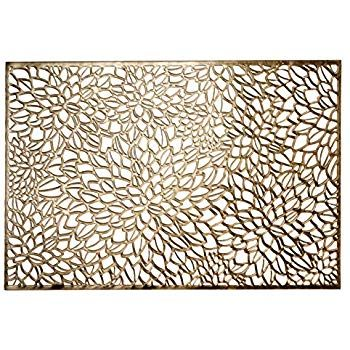 Amazonsmile Occasions 10 Pieces Pack Rectangular Pressed Vinyl Wedding Accent Metallic Placemats Magnolia Gold Kitchen Di Placemats Rectangular Vinyl