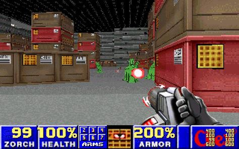 'Chex Quest' and advergame based on the Doom engine where the player character is a giant, humanoid piece of cereal (Chex) battle enemies that have been transported through the Milk Dimension.