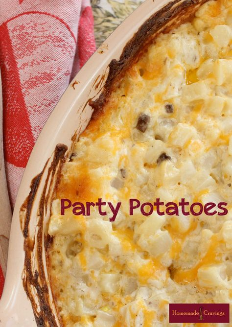"""Potato Casserole """"Party Potatoes"""" - My family has been making these for years. We add corn flakes it top that are covered with melted butter. Adds a little crunch."""