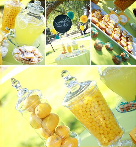 Reusable chalkboard labels and hurricane glass jars full of lemons... what great ideas!