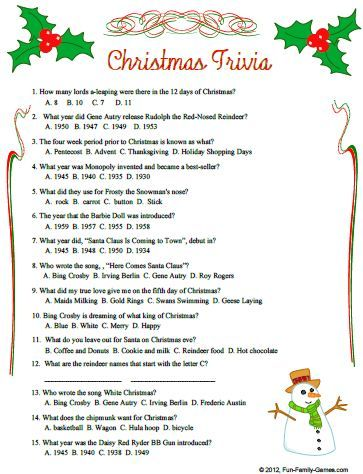 christmas trivia questions and answers | Christmas Quiz Questions ...