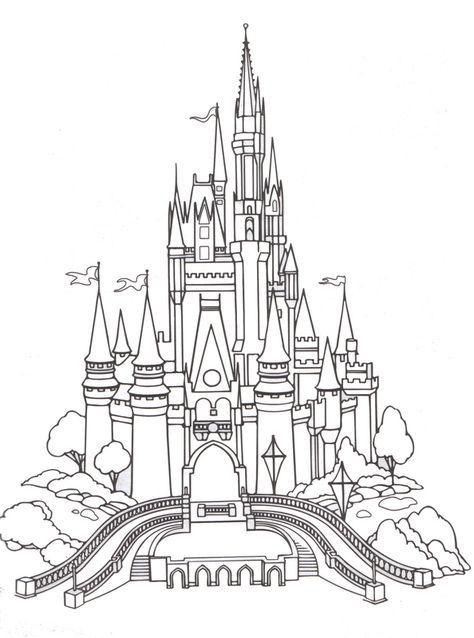 Free Printable Coloring Pages Cinderella S Castle Disney World Cinderella Disney Many Other Disney Castle Drawing Castle Coloring Page Disney Activities