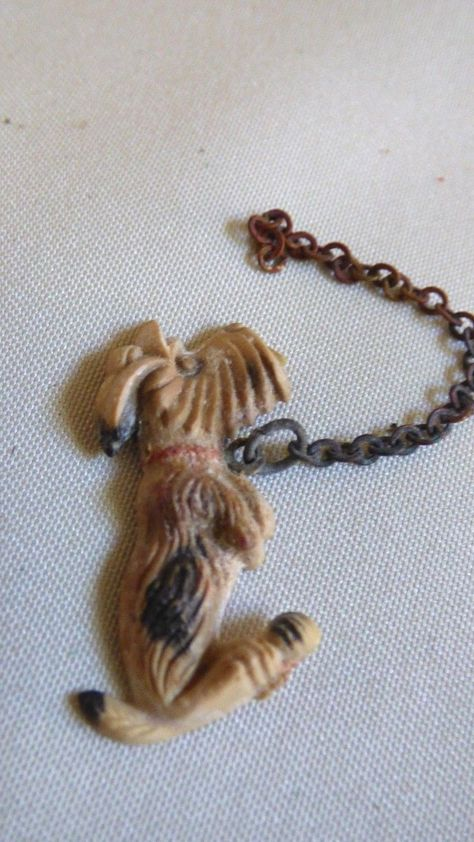 VINTAGE SMALL CELLULOID DOG FIGURINE CHARM WITH CHAIN | eBay