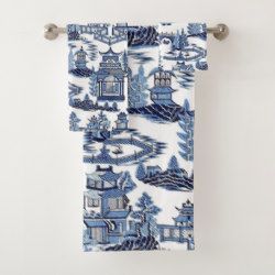Blue Willow China Design Bath Towel Blue Willow China Blue
