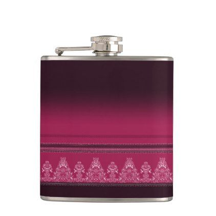 Pink Traditional Paisley Floral Pattern Hip Flask Chic Design Idea Diy Elegant Beautiful Stylish Modern Exclusive Trendy Floral Pattern Hip Flask Flask