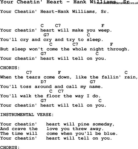 Song Your Cheatin Heart By Hank Williams Sr With Lyrics For