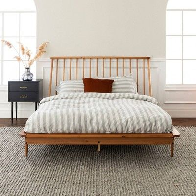 Queen Mid Century Modern Solid Wood Spindle Bed Caramel Saracina Home Mid Century Modern Bed Modern Bed Frame Mid Century Modern Bedroom