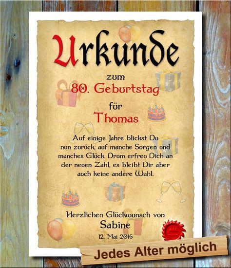 Urkunde zum 60 Geburtstag Gl/ückwunsch Geschenkurkunde personalisiertes Geschenk Gedicht Gru/ßkarte Geschenkidee mit Spruch DIN A4