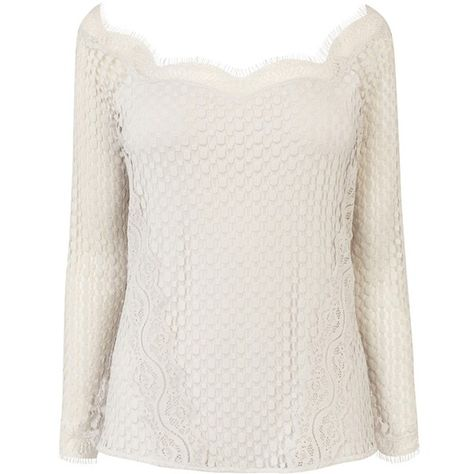 Coast Jarina Lace Bardot Top, Silver ($39) ❤ liked on Polyvore featuring tops