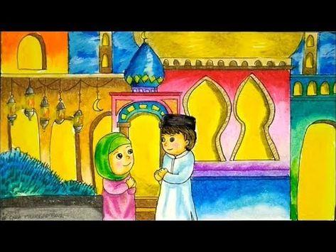 Cara Menggambar Tema Idul Fitri Lebaran Bulan Ramadhan Dengan