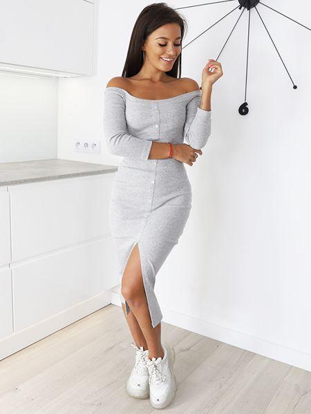 Dluga Bawelniana Sukienka Guziki Maxi Prazek Szara X103 K01 Fashion Dresses White Dress
