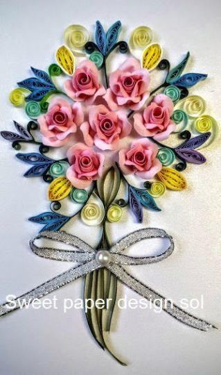 Paper Quilling Flower Bouquet Card For Birthday Mothers Day