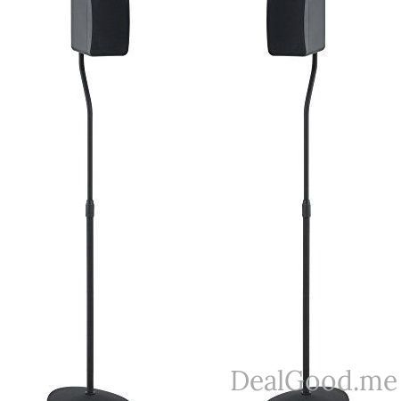 SANUS Adjustable Height Speaker Stand Extends 28 To 38 Holds Satellite Small Bookshelf Speakers Ie Bose Harmon Kardon Polk JBL KEF Klipsch Sony And