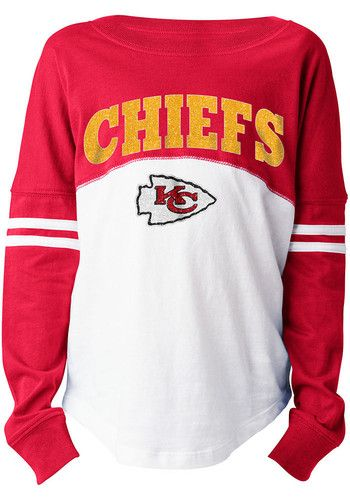 sale retailer c2af4 604bc Kansas City Chiefs Girls Red Varsity Long Sleeve T-shirt ...