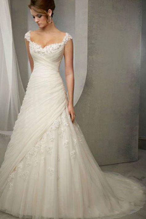 2014 Straps Sheath/Column Wedding Dress Pleated Bodice With Crystal Beaded Appliques USD 209.99 VUPYTZEQT7 - VoguePromDressesUK