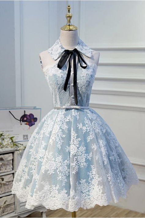 Light Sky Blue Halter Homecoming Dress with Lace Appliques, Cute Short Formal Dress N1971 - US8 / Custom Color(Leave the color number in the note box)