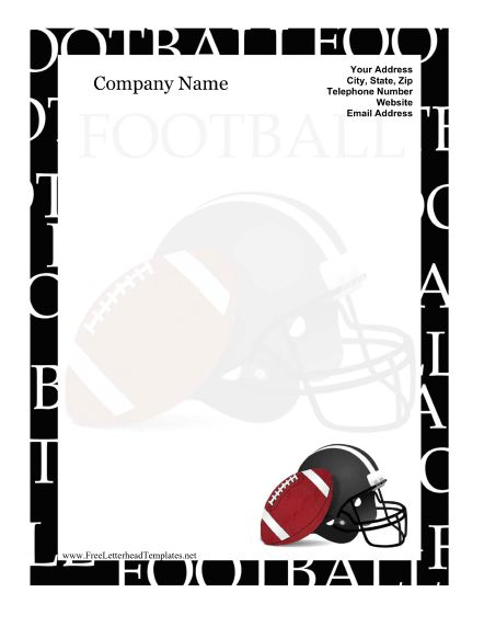 A soccer ball and cleats decorate this free, printable letterhead - free printable letterhead templates