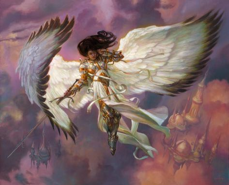 MtG Art: Serra Angel from Dominaria Set by Donato Giancola - Art of Magic: the Gathering Mythological Creatures, Fantasy Creatures, Magic The Gathering, Fantasy Inspiration, Character Inspiration, Male Character, Angel Artwork, Mtg Art, Angel Warrior