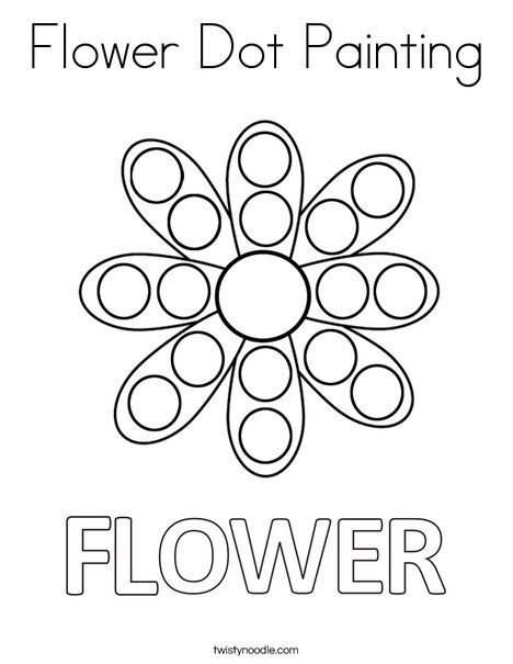 Flower Dot Painting Coloring Page Twisty Noodle With Images