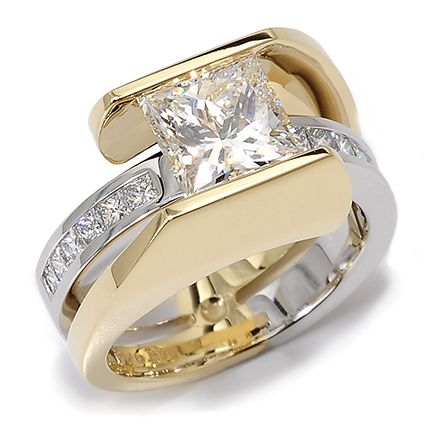 Nautilus 149-R01M. Princess Cut Diamond Accented By Diamonds Set In 18k Yellow Gold And Platinum.......