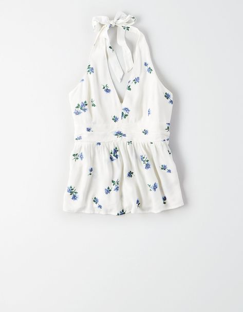 AE Printed Halter Top, Natural White | American Eagle Outfitters