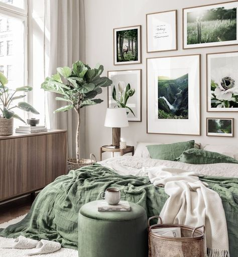 Natur inspired gallery wall landscape nature posters flowers green interior walnut frames - Gallery wall inspiration - Posterstore.com