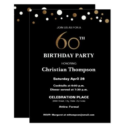 Gold And Black 60th Birthday Party Card Birthday Cards Invitations Party Diy Personalize Customize Celeb 60th Birthday Party Invitation Card Party Party Card