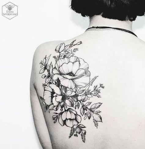 nice Couples Tattoos Ideas - black floral tattoo by Diana Severinenko Piercings, Piercing Tattoo, I Tattoo, Tattoo Zone, Sketch Tattoo, Pretty Tattoos, Unique Tattoos, Beautiful Tattoos, Bild Tattoos