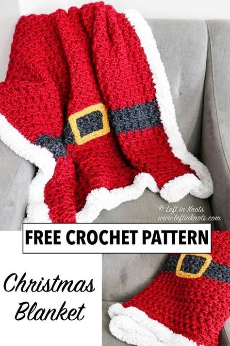 Crochet Santa, Cute Crochet, Crochet Crafts, Crochet Hooks, Crochet Projects, Knit Crochet, Christmas Crochet Blanket, Christmas Afghan, Blanket Crochet