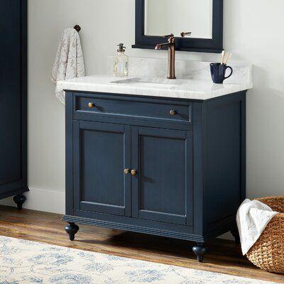 Signature Hardware Keller Marble 37 Single Bathroom Vanity Set Blue Bathroom Vanity Small Bathroom Vanities Navy Blue Bathrooms